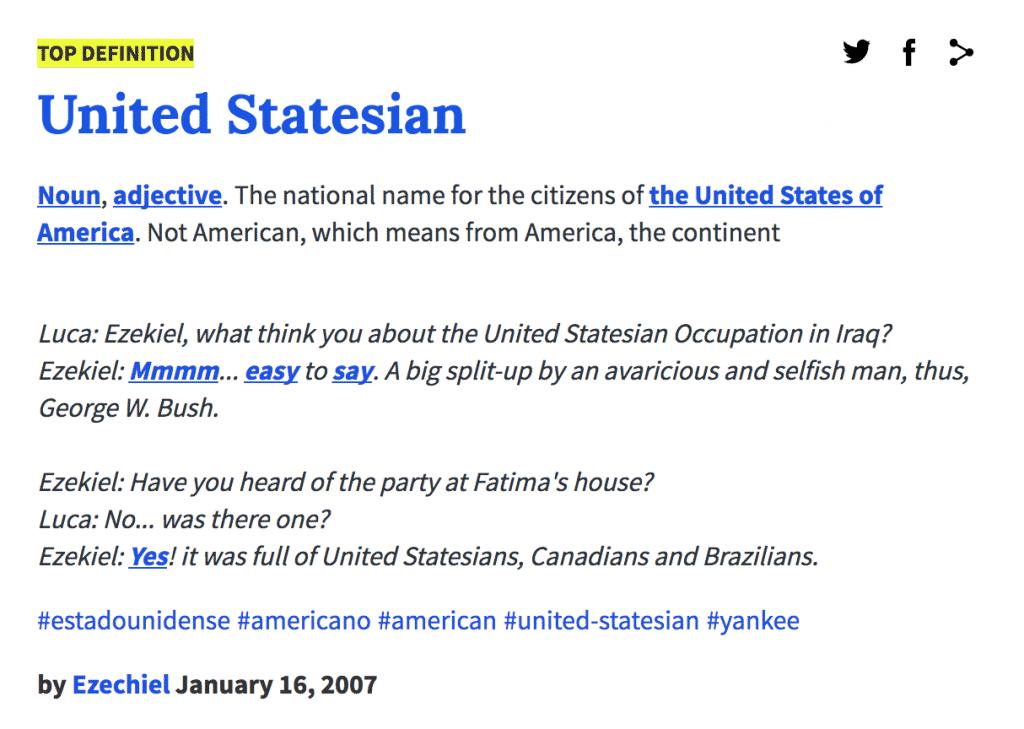 Urban Dictionary Definition: United Statesian
