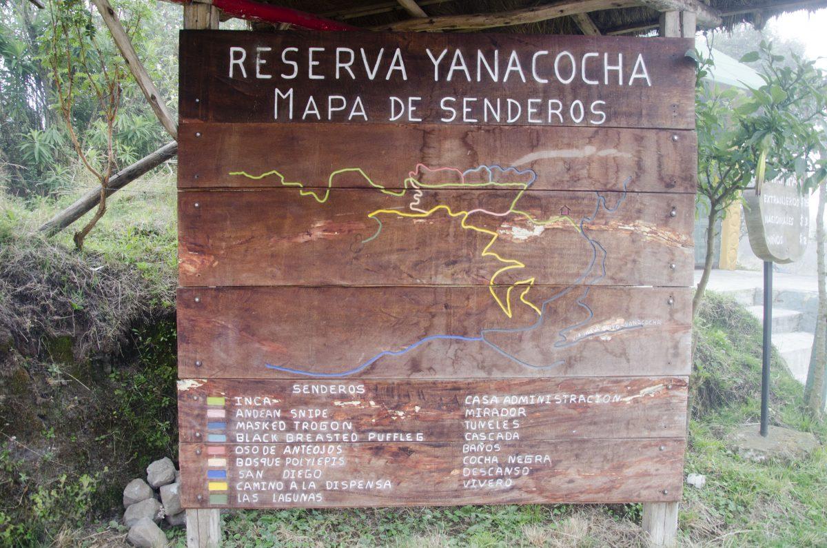 Trail Map, Yanacocha Reserve, Pichincha, Ecuador
