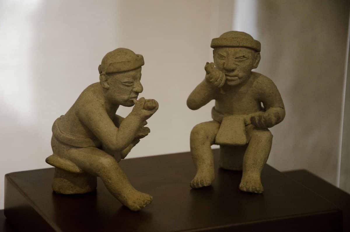 Sculpture from the Figures taking coca with lime; Cultura Tolita (350 BCE – 350 CE); Casa del Alabado, Quito, Ecuador   ©Angela Drake