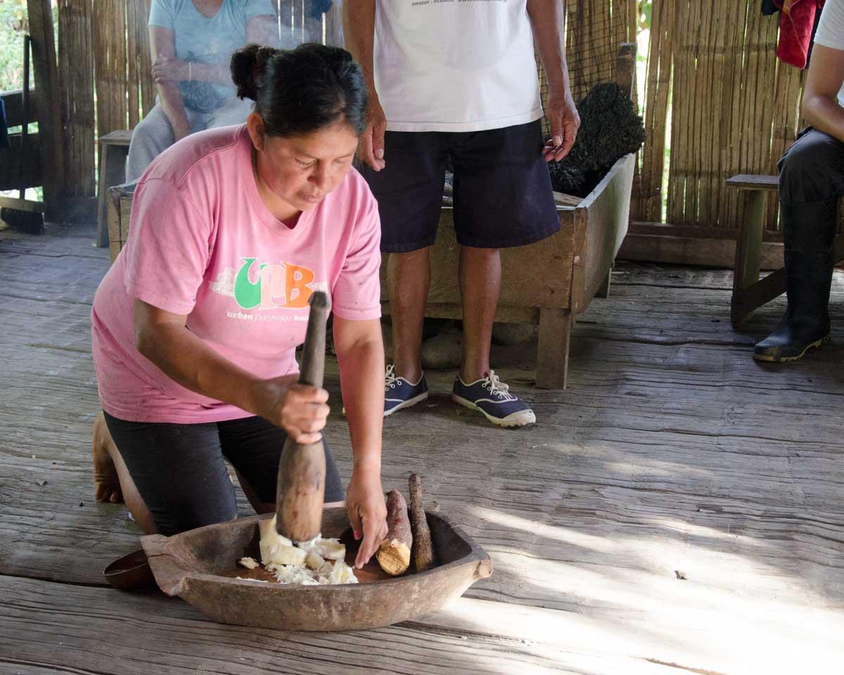 Making Chicha de Yuca, Puerto Napo, Ecuador | ©Angela Drake