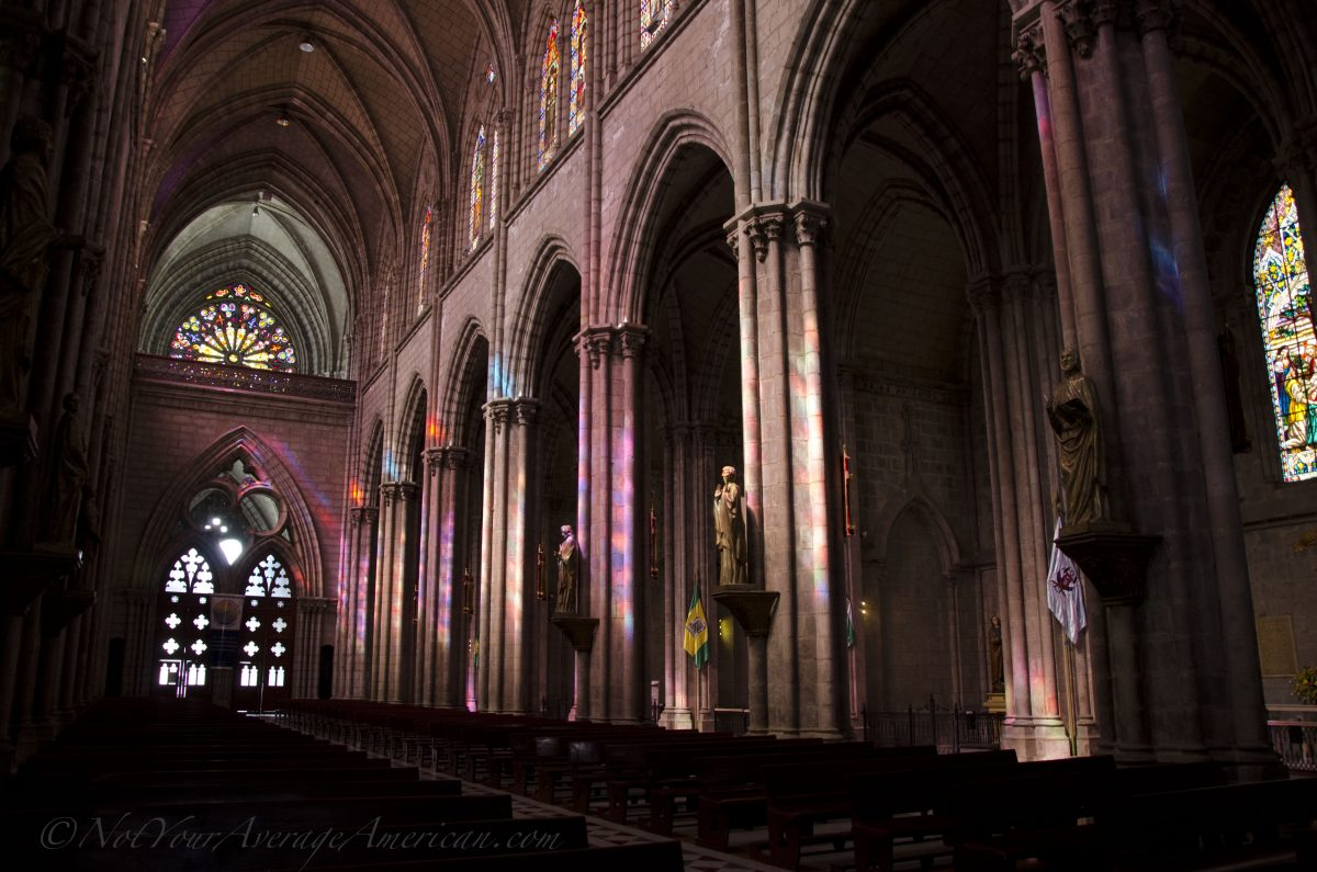 Morning light inside the Quito Basilica | ©Angela Drake