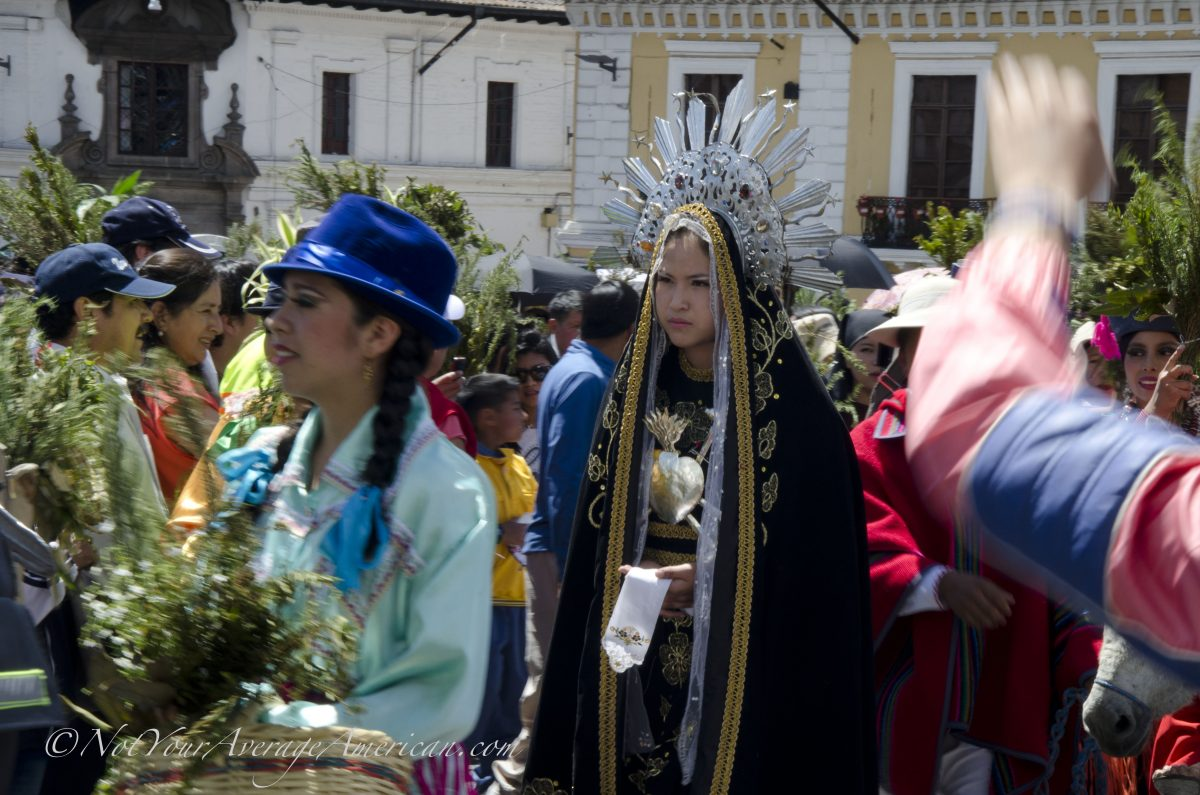 The Virgin Mary making her way to the stage in the Palm Sunday festivities, Quito, Ecuador | ©Angela Drake