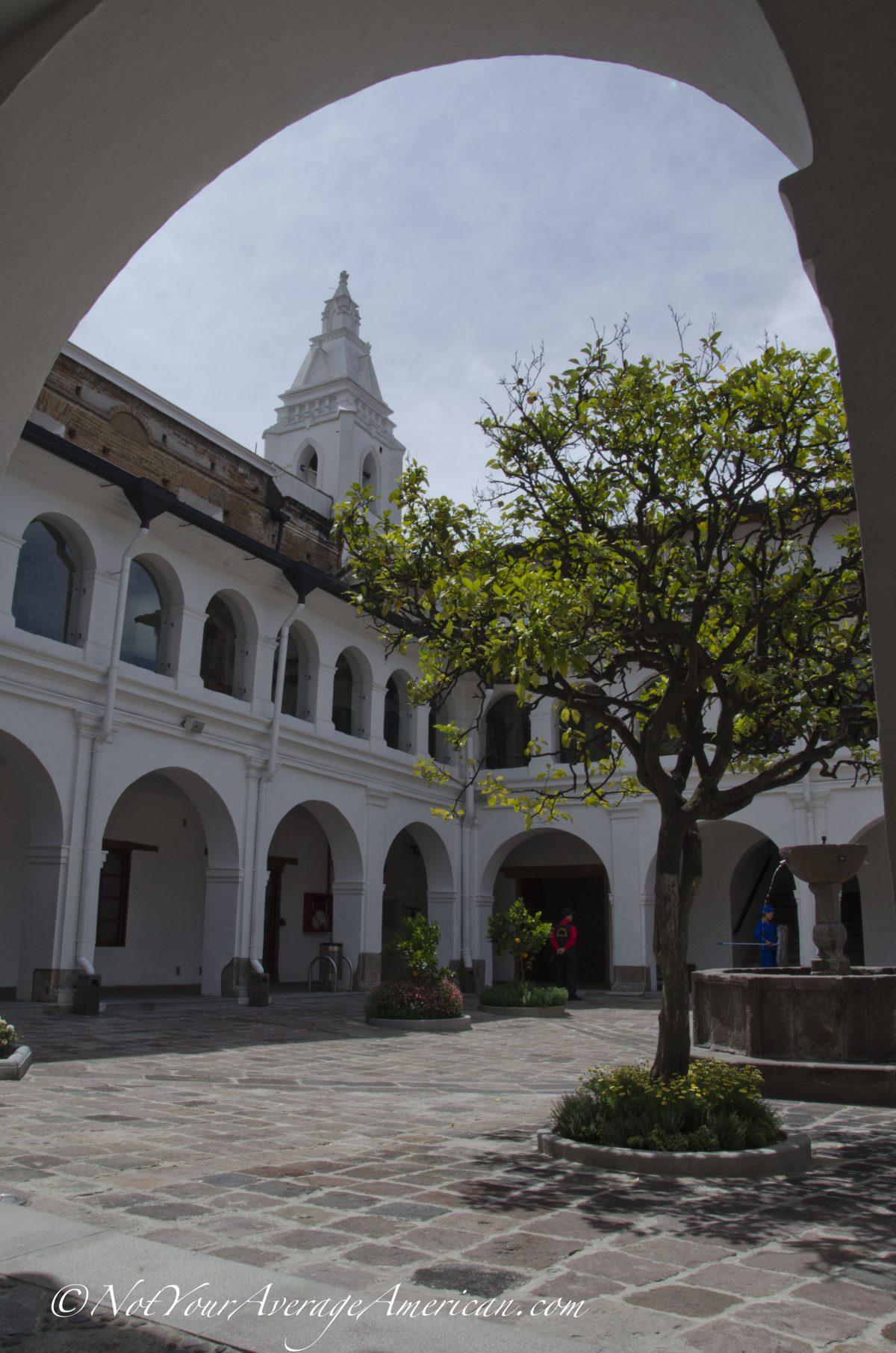 The inner courtyard of the Museo del Carmen Alto, Quito, Ecuador | ©Angela Drake