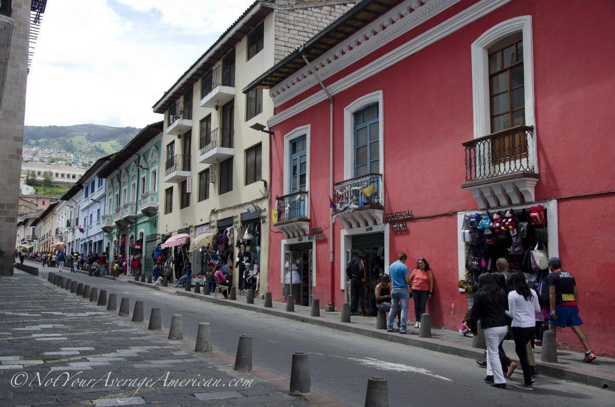 Colorful buildings, Quito Historic Center, Ecuador