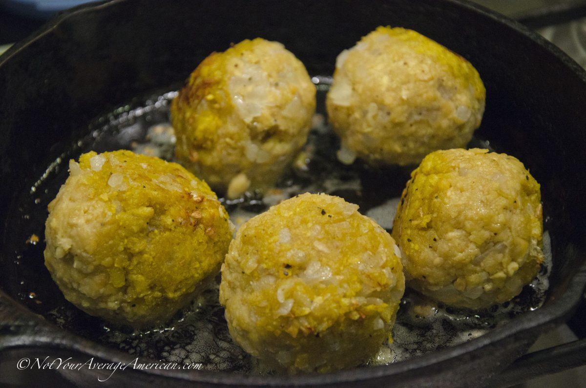 Green Plantain Dumplings, AKA Bolón de Verde