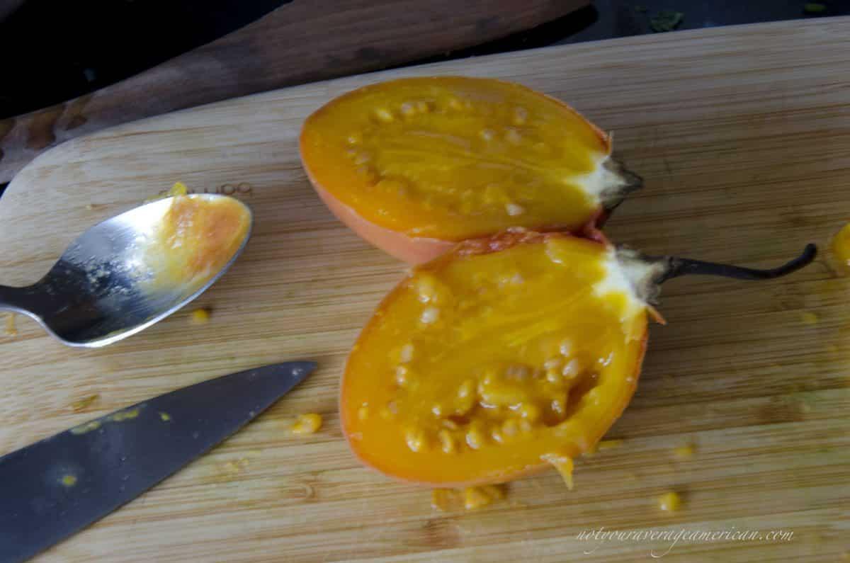 Seeding a Tree Tomato, Ecuadorian Hot Sauce with Ginger