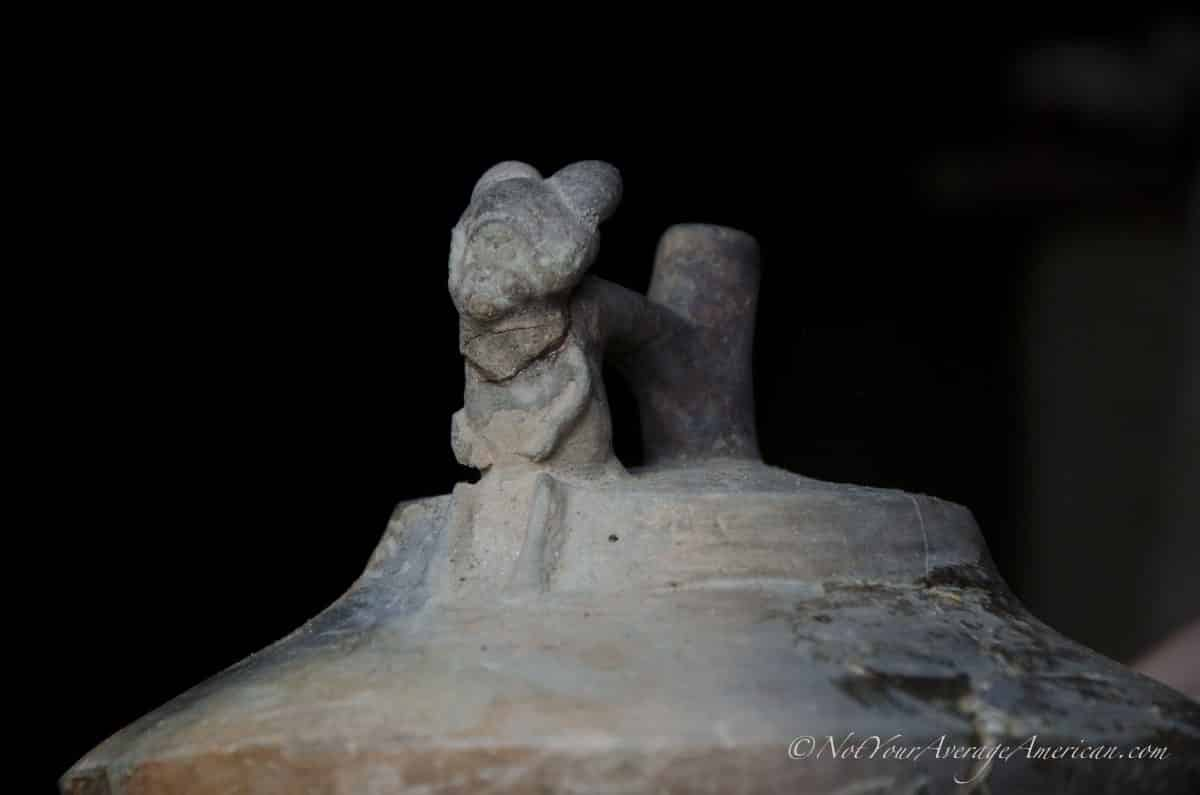 A detailed view of a pottery piece found, Chirije Museum, Manabi, Ecuador