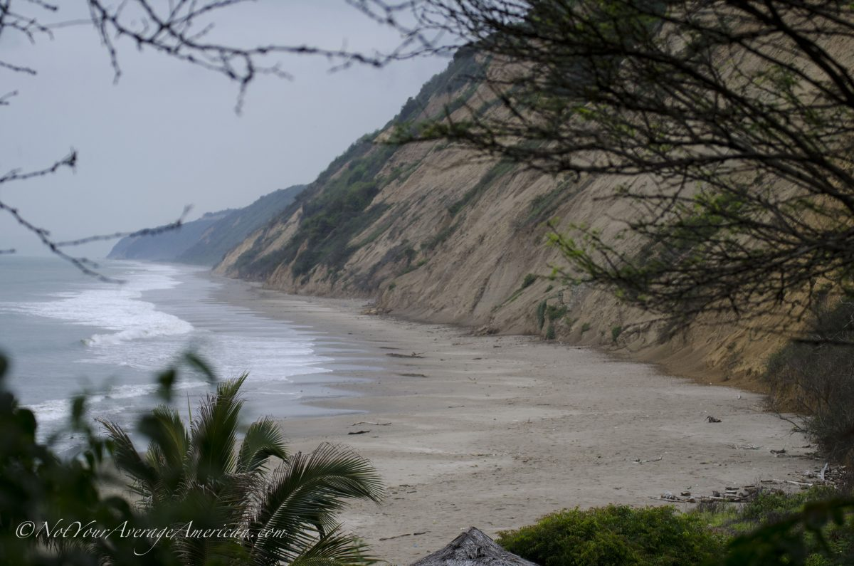 A view of the beach from outside our room, Chirije Lodge, Manabi, Ecuador