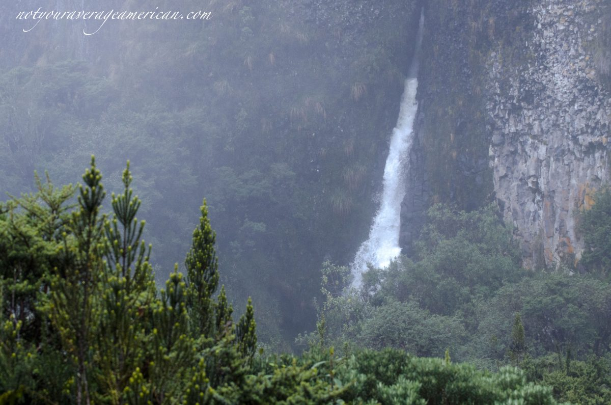A waterfall gushes from the high mountains in Cayambe Coca National Park, Papallacta, Ecuador   ©Angela Drake