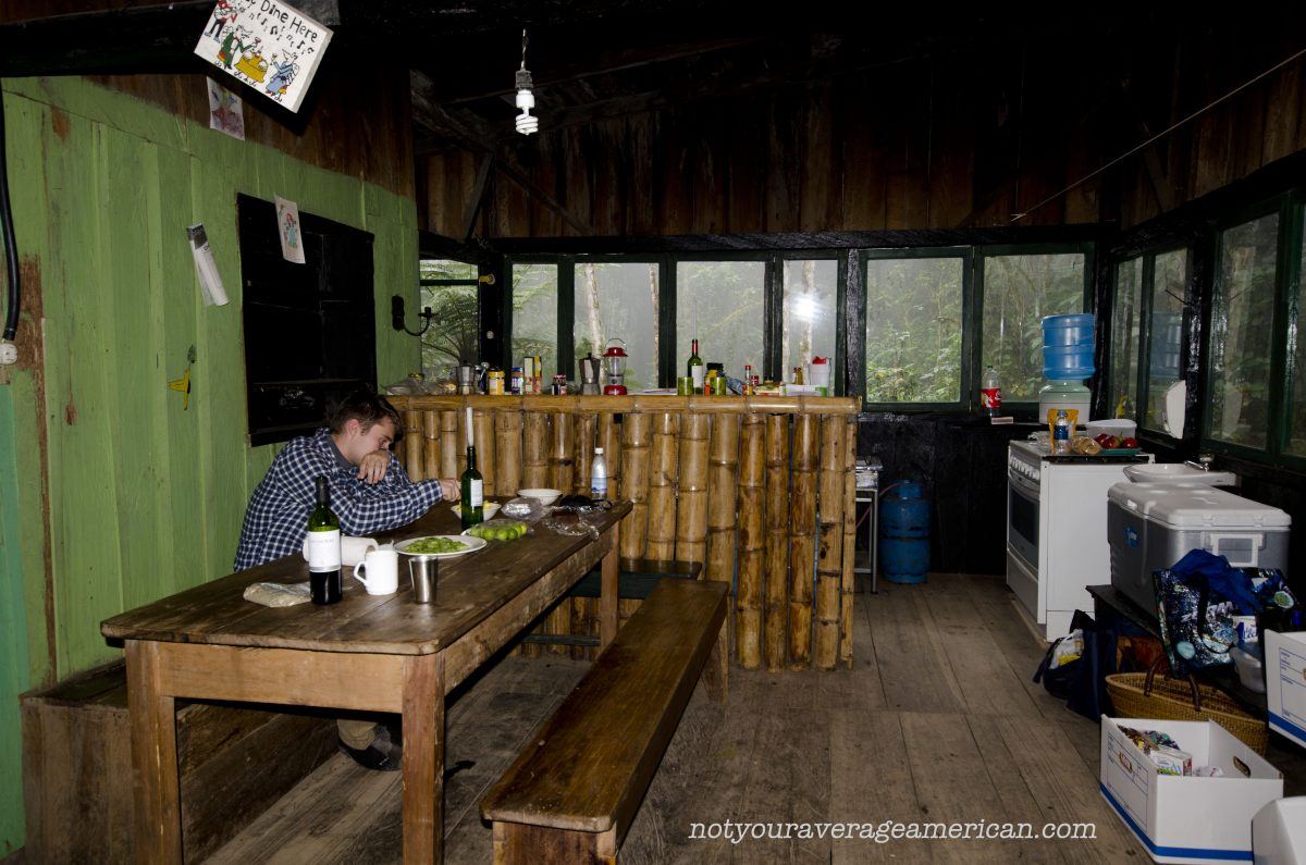 The dining room looking into the kitchen at the Bellavista Scientific Research Station   ©Angela Drake
