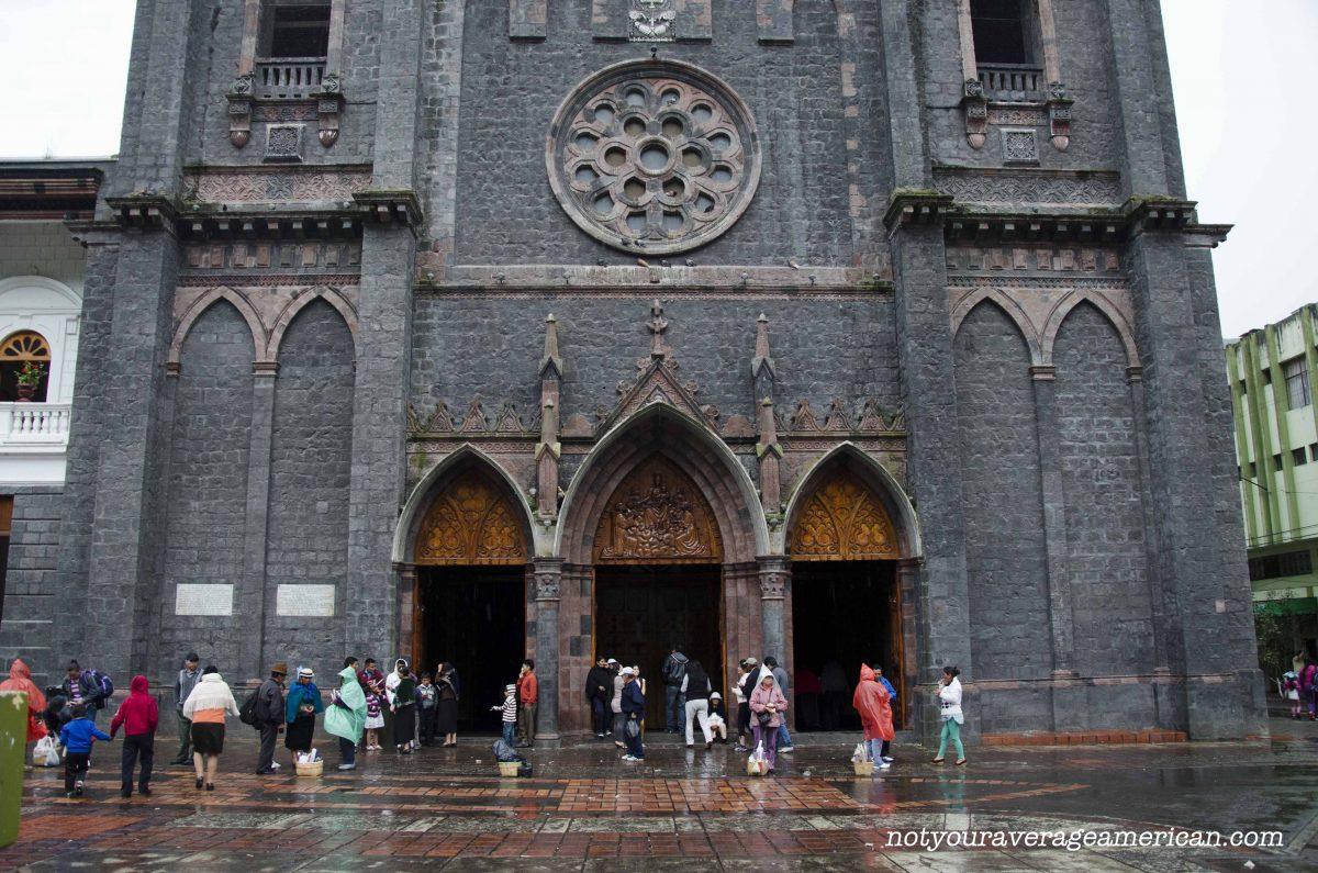 The front of the Basilica de Agua Santa, Baños, Ecuador.