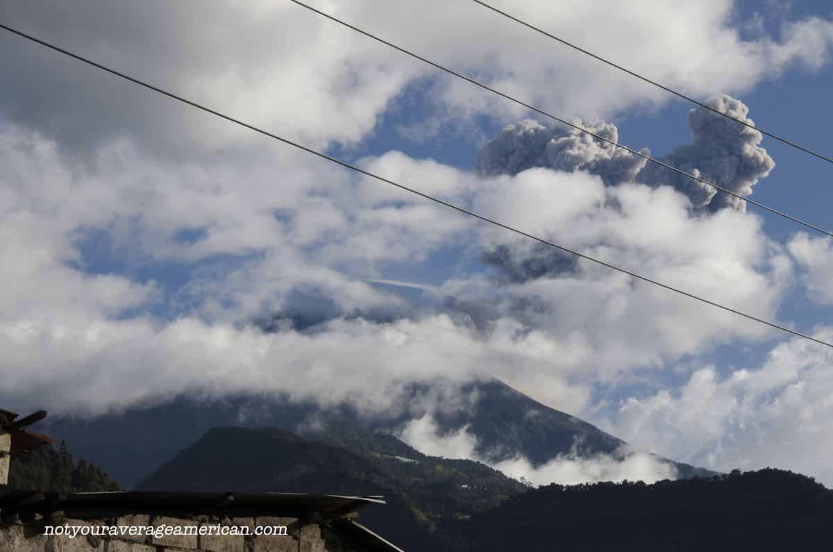 The Volcano Tungurahua as seen from the streets of Baños.
