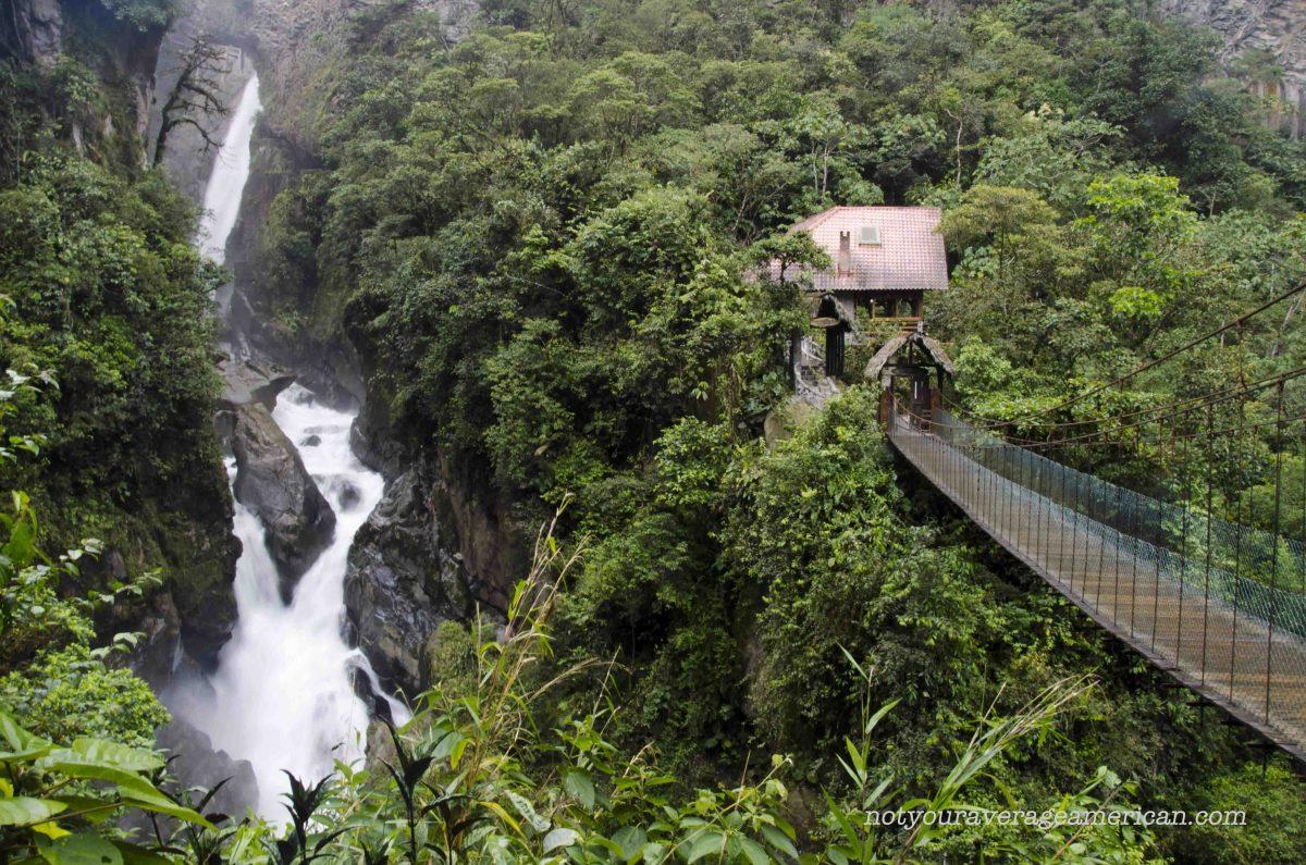 Looking back at the trailhead, Pailón del Diablo, Baños, Ecuador