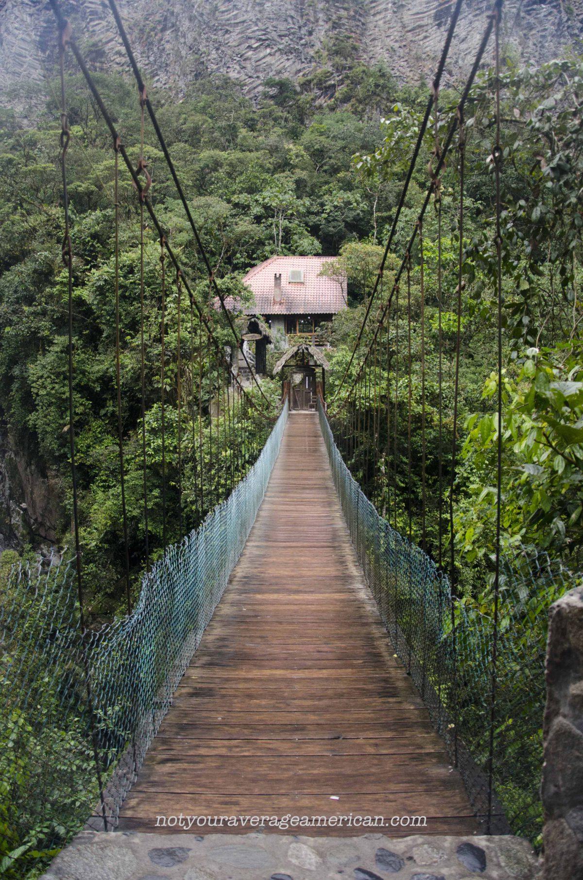 This bridge leads back to the restaurant, The Pailón del Diablo, Baños, Ecuador