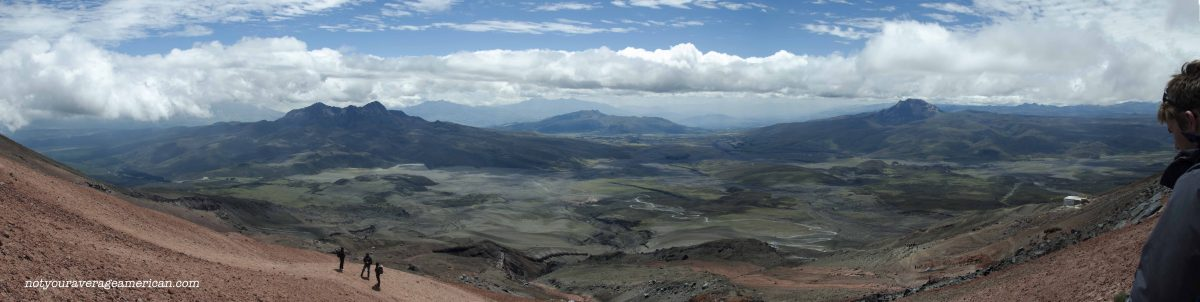This panorama is stitched from multiple photos. The view is found about halfway between the glacier and the Refugio but on a higher trail that the one we walked out   ©Angela Drake