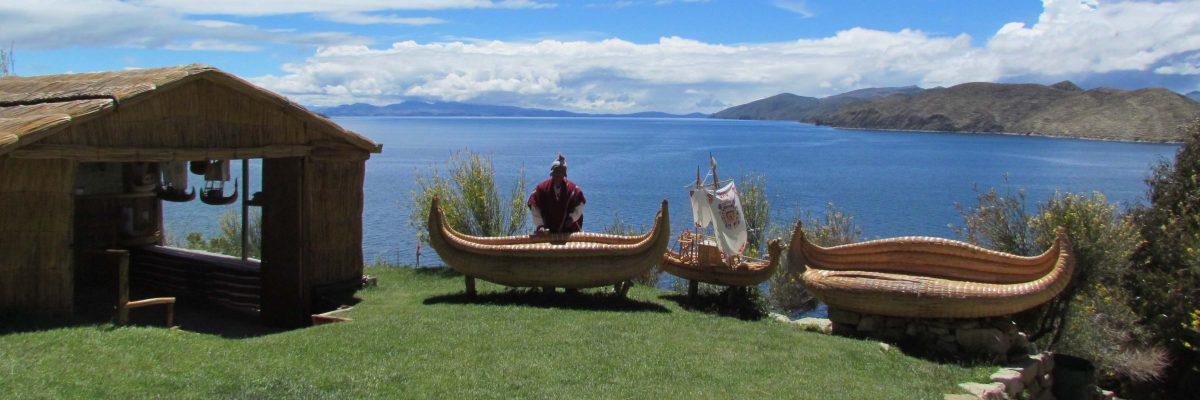 Examples of reed boats at the Inti Wati Complex, Isla del Sol, Bolivia | ©Angela Drake