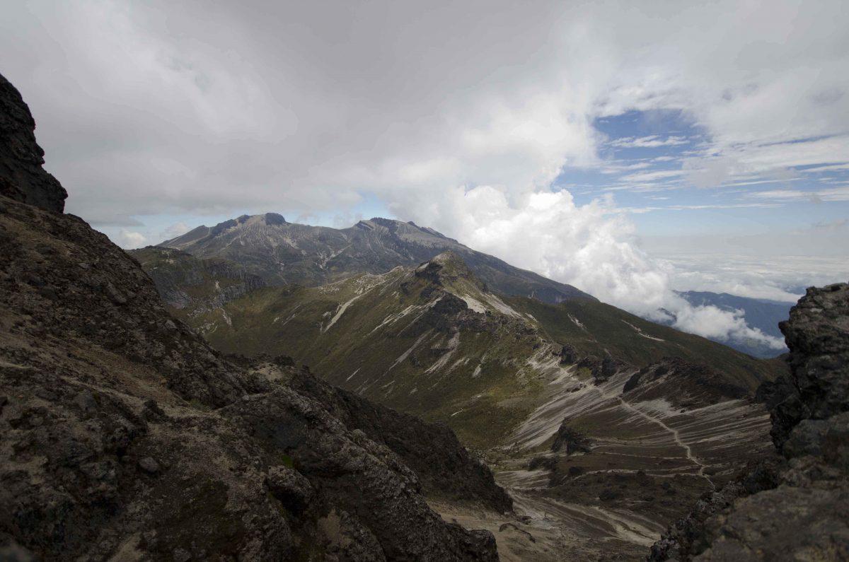 View of the trail to Guagua Pichincha from Rucu | ©Angela Drake