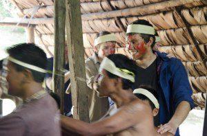 Part of the Huaorani courtship ritual is dancing before the women.