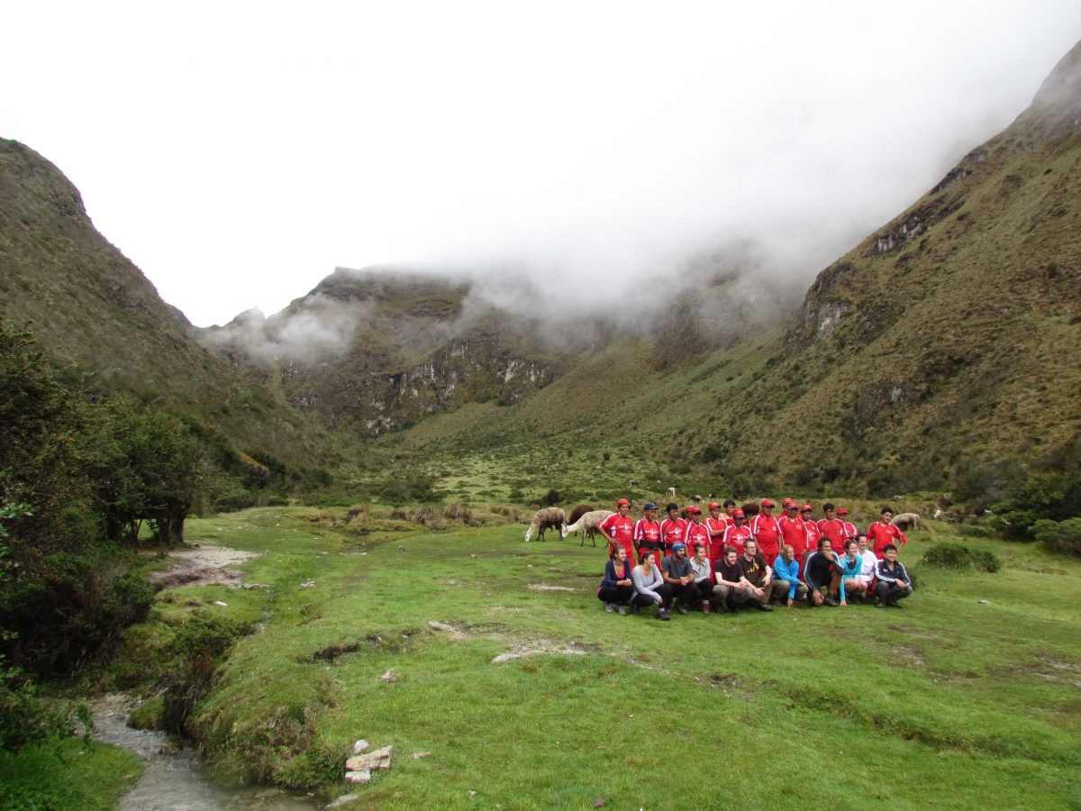 A hiking group with their porters at Llulluchampa, Inca Trail, Peru   ©Angela Drake