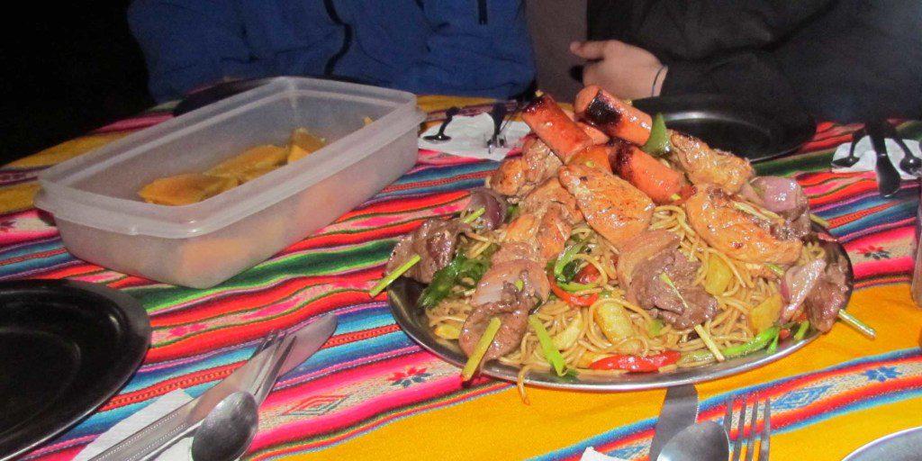 Dinner of sweet potatoes and shish-kabob