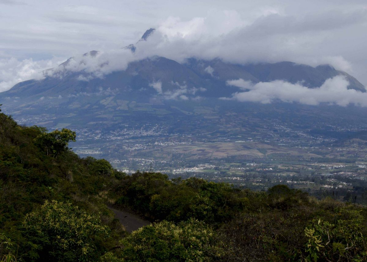 The City of Otavalo nestled on the slopes of Imbabura, Laguna Cuicocha, Ecuador
