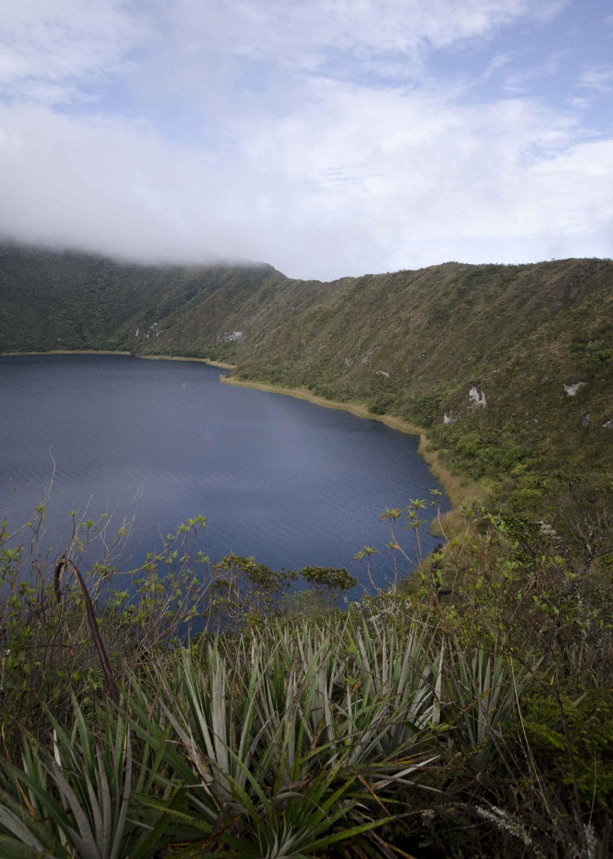 View of the Lake from the Hiking Trail, Laguna Cuicocha, Ecuador