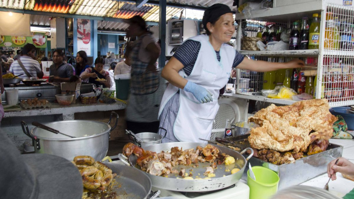 Hornado, Mercado 24 de Mayo, Otavalo; Rosario Tabango | ©Angela Drake