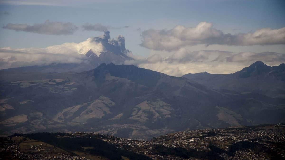 Cotopaxi and Quito as seen from the Teleferico, Ecuador