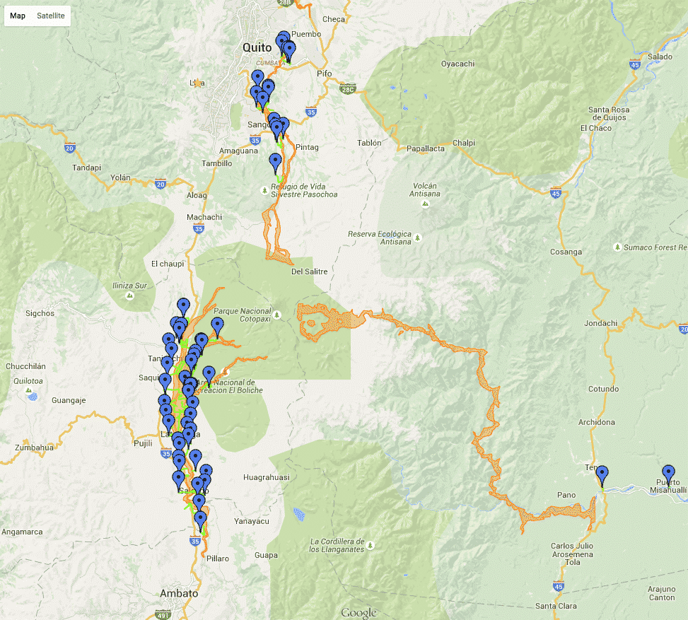 Map of possible Lahar Flows from Cotopaxi
