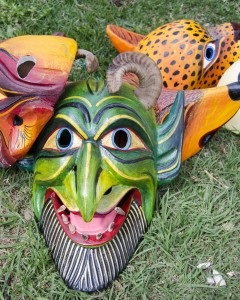 A Devil Mask with Teeth and Horns