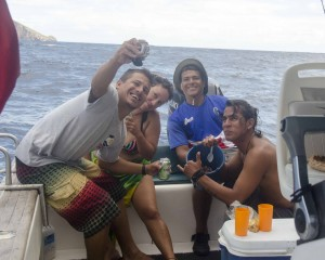 A Crew Selfie with the Bucket of Ceviche