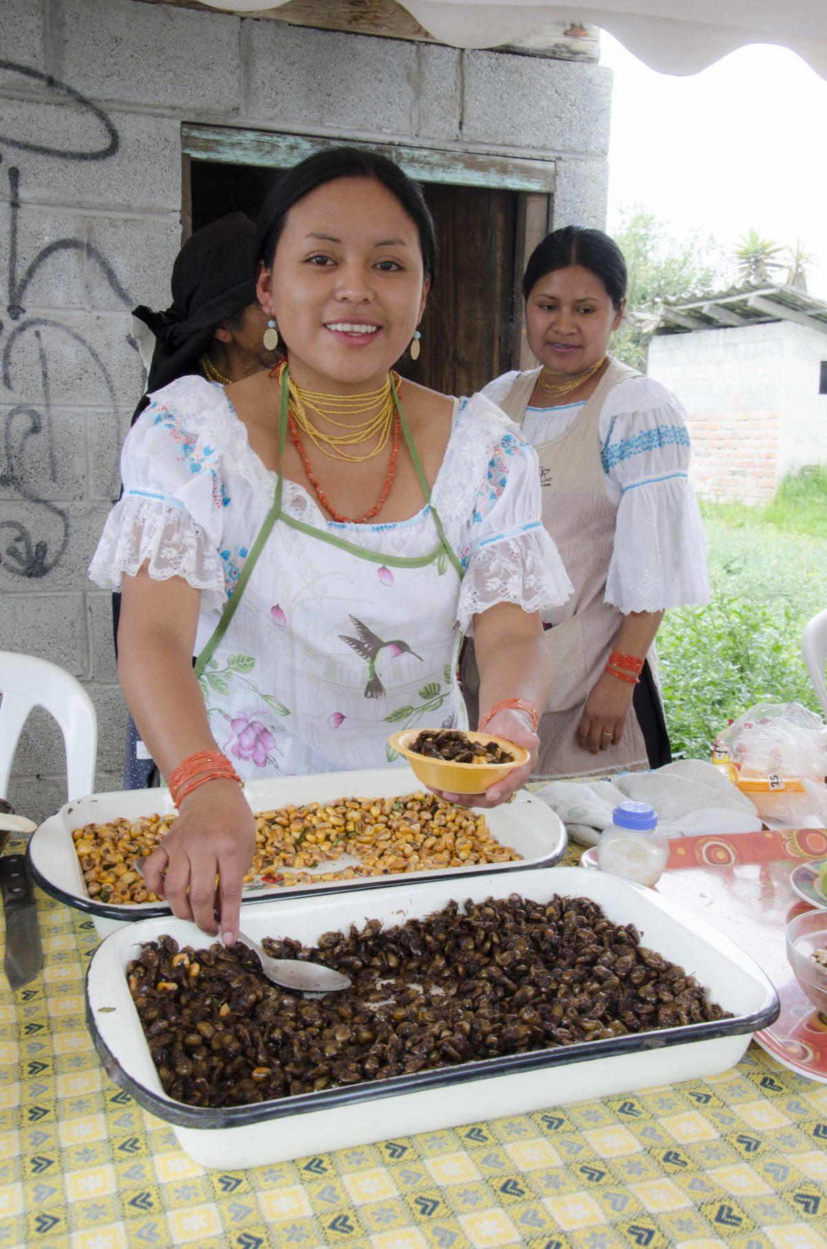 Catzos, or beetles, served in Peguche, Ecuador| ©Angela Drake