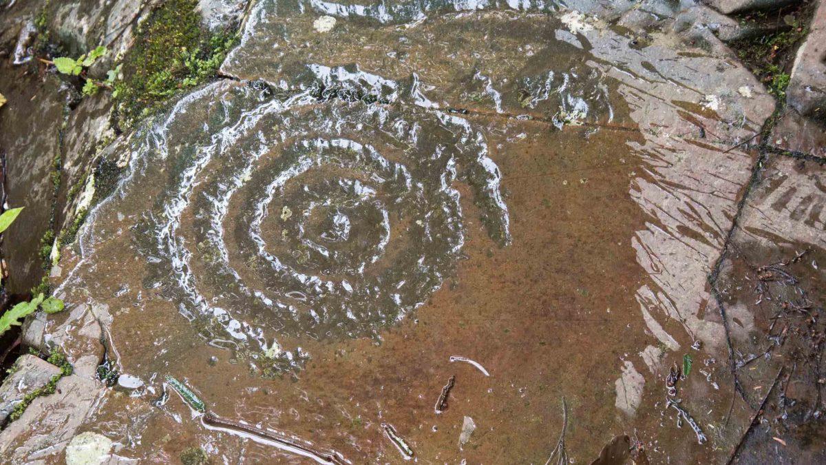 Spiral Petroglyph, Rio Chirapi, Pacto, Ecuador