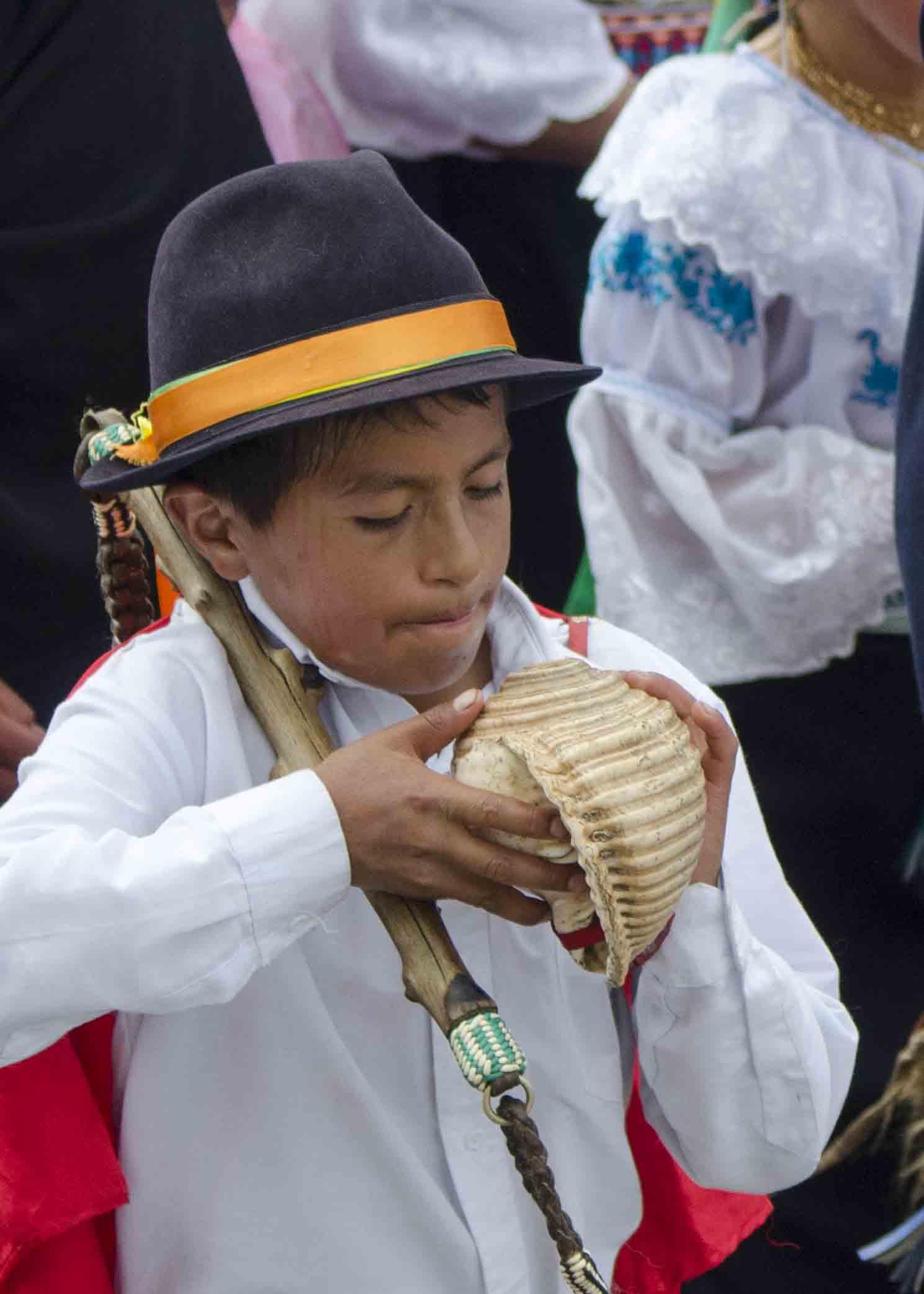 Preparing to Blow the Conch Shell, Inti Raymi, Parade of Schools, Cotachi, Ecuador