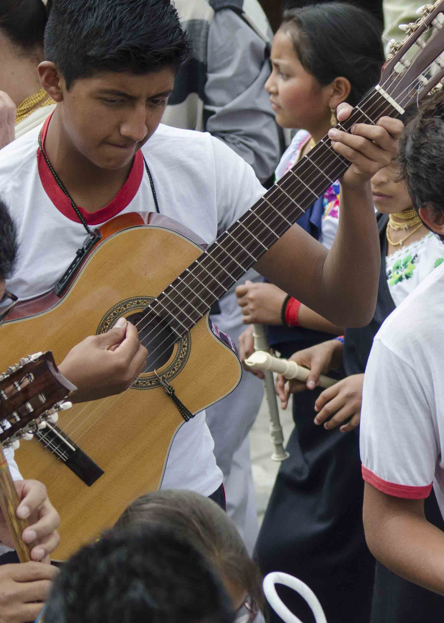 Guitar Player, Inti Raymi, Parade of Schools, Cotachi, Ecuador