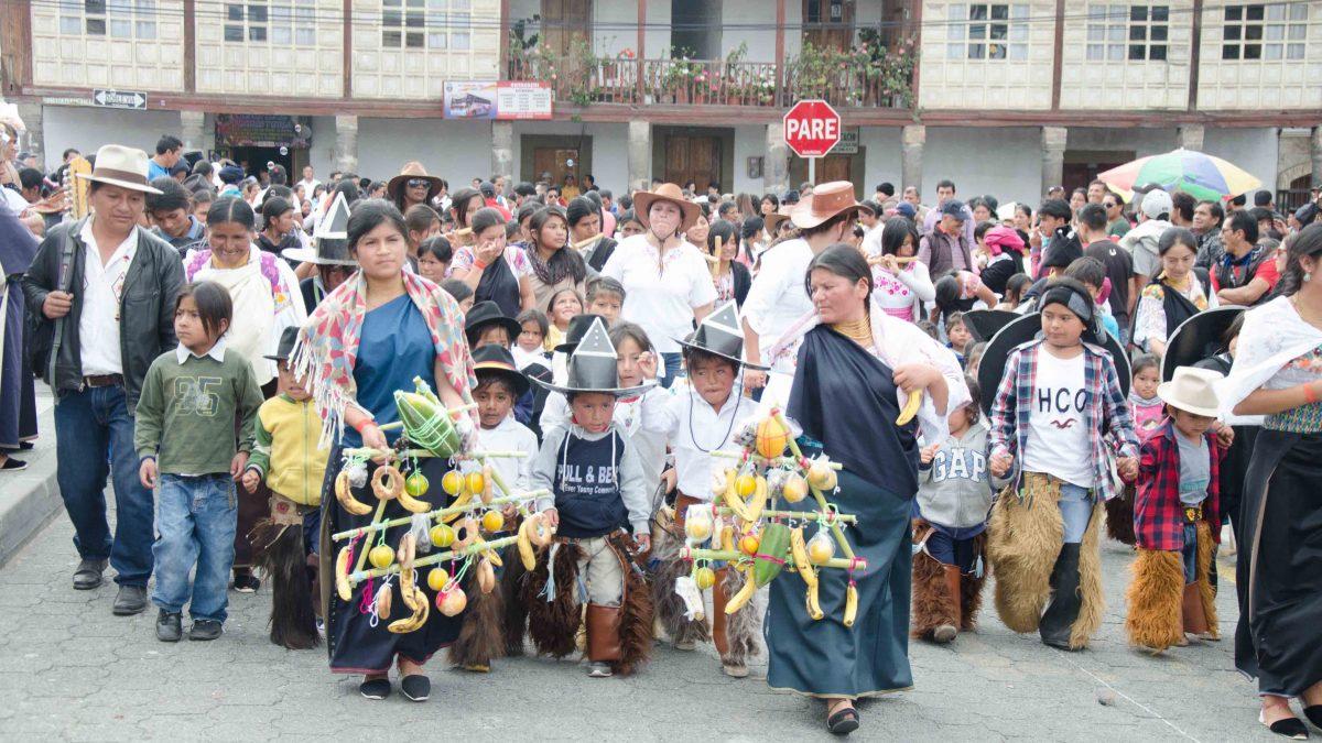 School Children Take the Plaza, Cotacachi, Ecuador