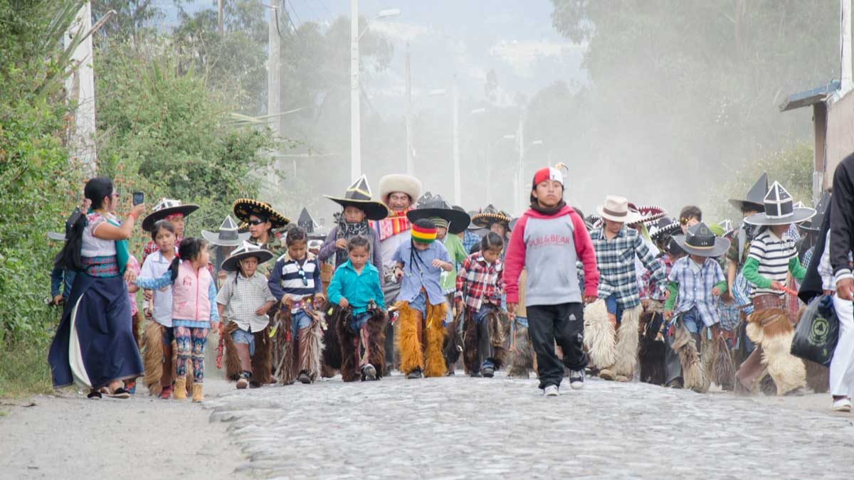 Arriving for The Taking of the Plaza, Intiraymi, Cotacachi, Ecuador | ©Angela Drake