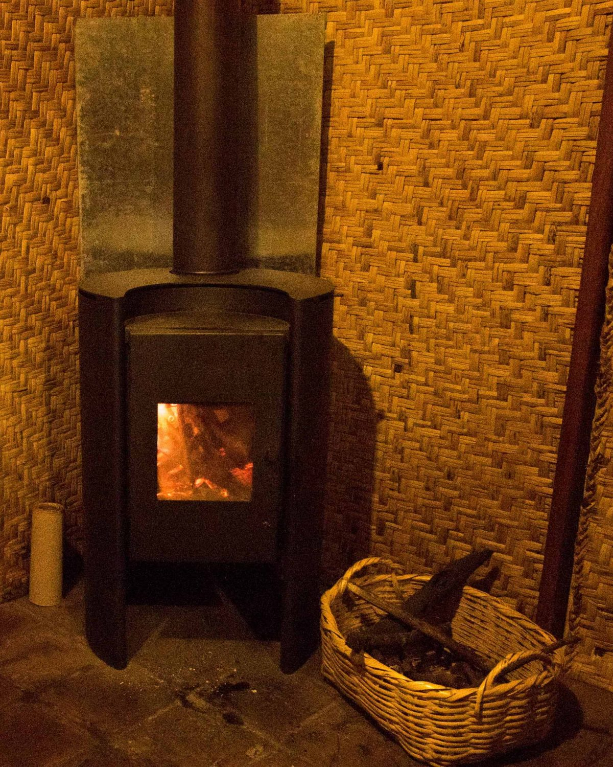 Fireplace in our suite, Guaytara Lodge, Ecuador   ©Angela Drake / Not Your Average American