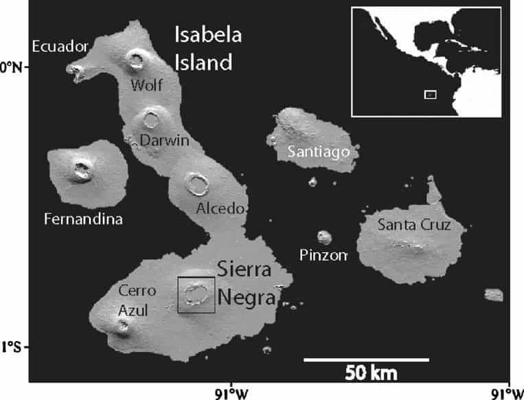 Map highlighting Sierra Negra on Isla Isabela in the Galapagos Archipelago   Instituto Geofíscico de Ecuador   http://www.igepn.edu.ec/