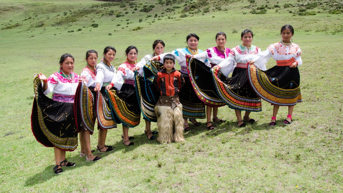 A Dance Troupe scheduled to perform at the Mushak Nina celebrations, Cochasquí, Ecuador | ©Angela Drake