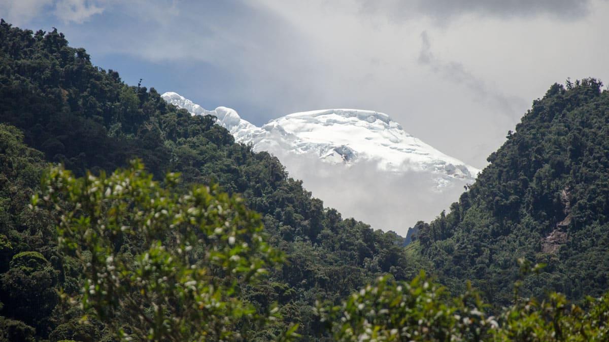 The Volcano Antisana photographed from a moving car, E-20, Ecuador   © Angela Drake