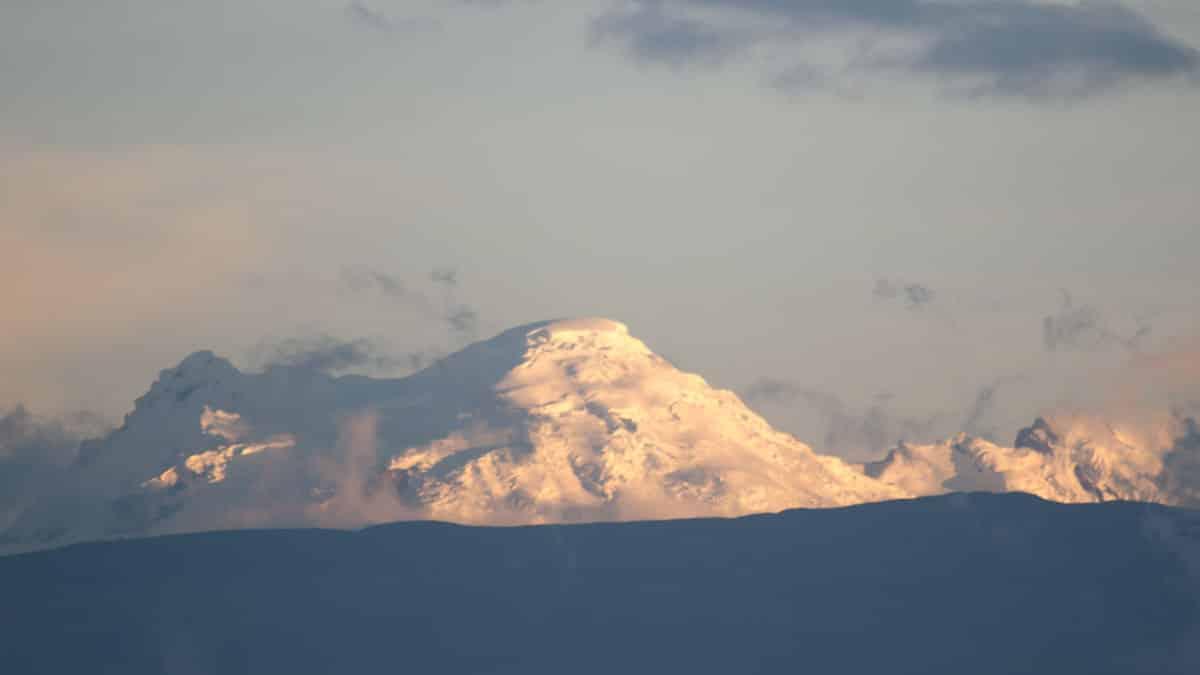 The Antisana Volcano photographed from North Quito, Ecuador   November 2013   © Angela Drake