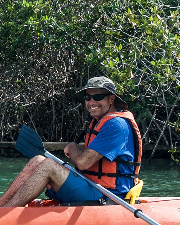 First time in a mangrove marsh with sharks and rays instead of catfish.