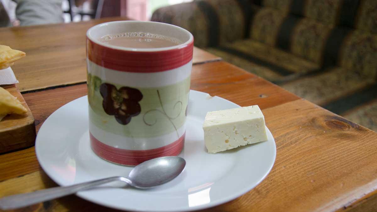 Chocolate con Queso, La Casa de La Empanada, Nono, Ecuador   ©Angela Drake