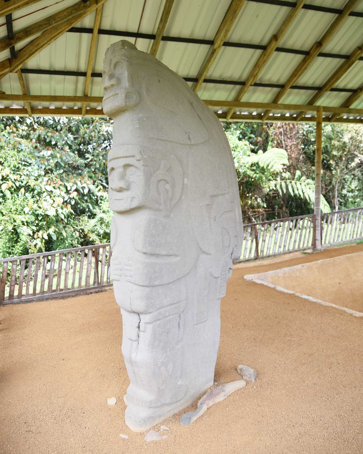 Interesting mix of animal and human characteristics on this statue; Alto de las Piedras, Isnos, Colombia   ©Angela Drake