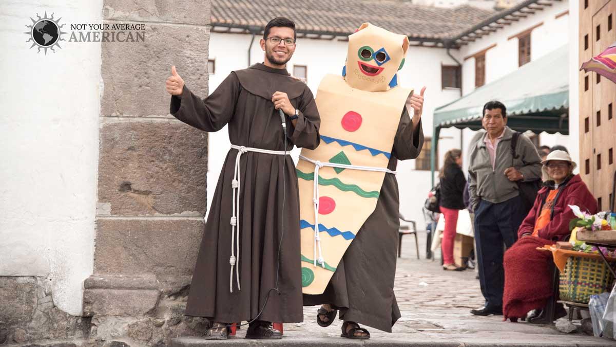 Friars Selling Colada Morada, San Diego Convent, Quito | ©Angela Drake