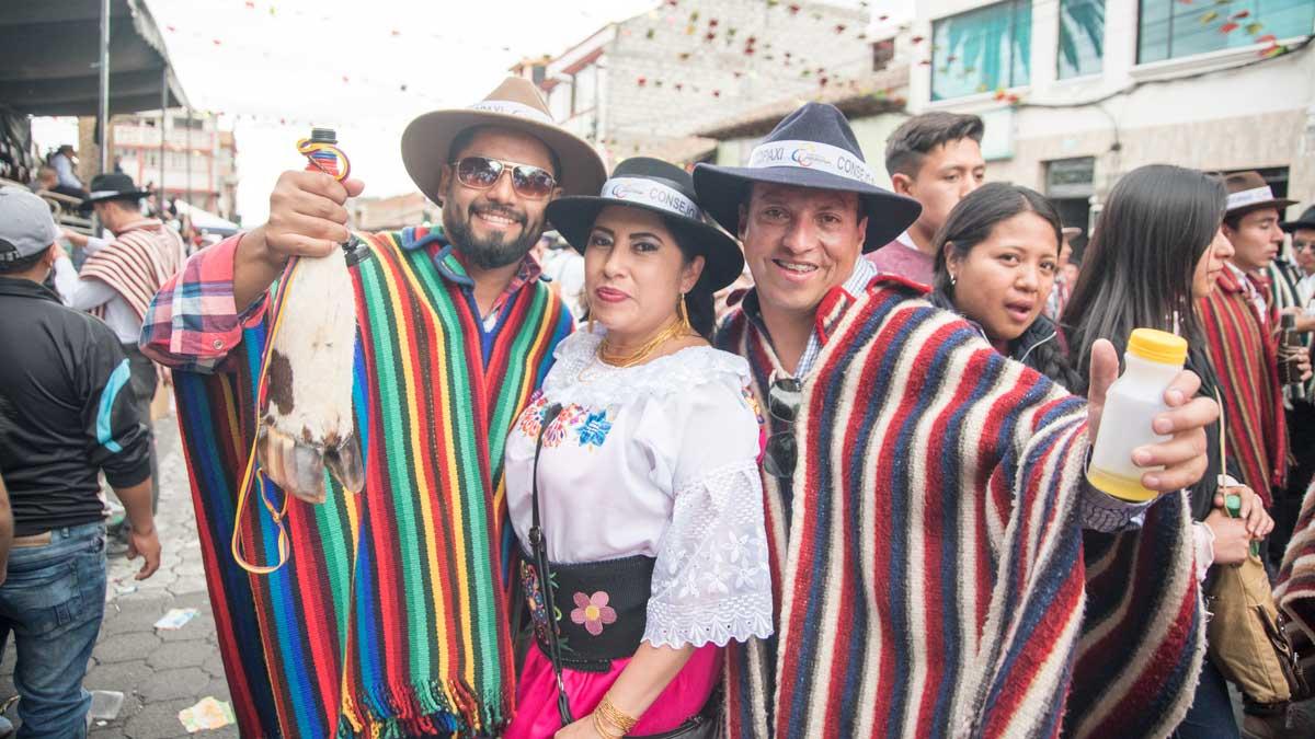 Los Loeros With La Ofrendera, Mama Negra, Latacunga, Ecuador   ©Angela Drake