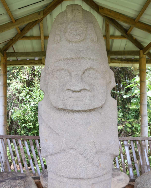 Close-up of Helmeted Statue; Alto de los Piedras, Isnos, Colombia   ©Angela Drake