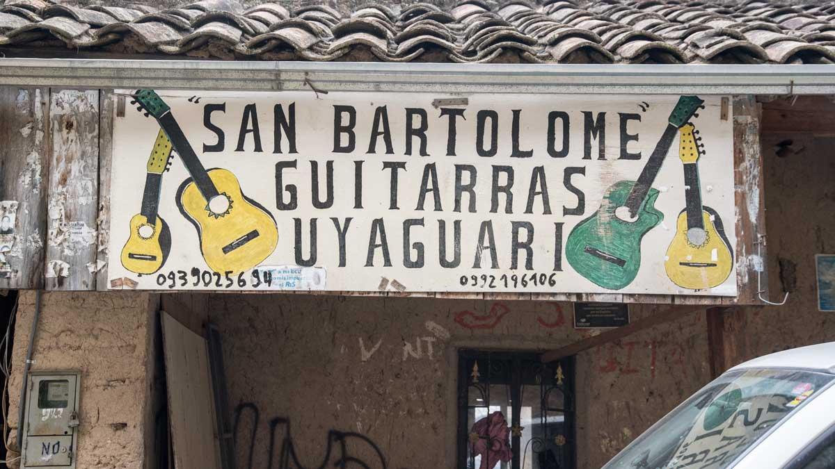 Guitarras Uyaguari Sign, San Bartolome, Ecuador | ©Angela Drake