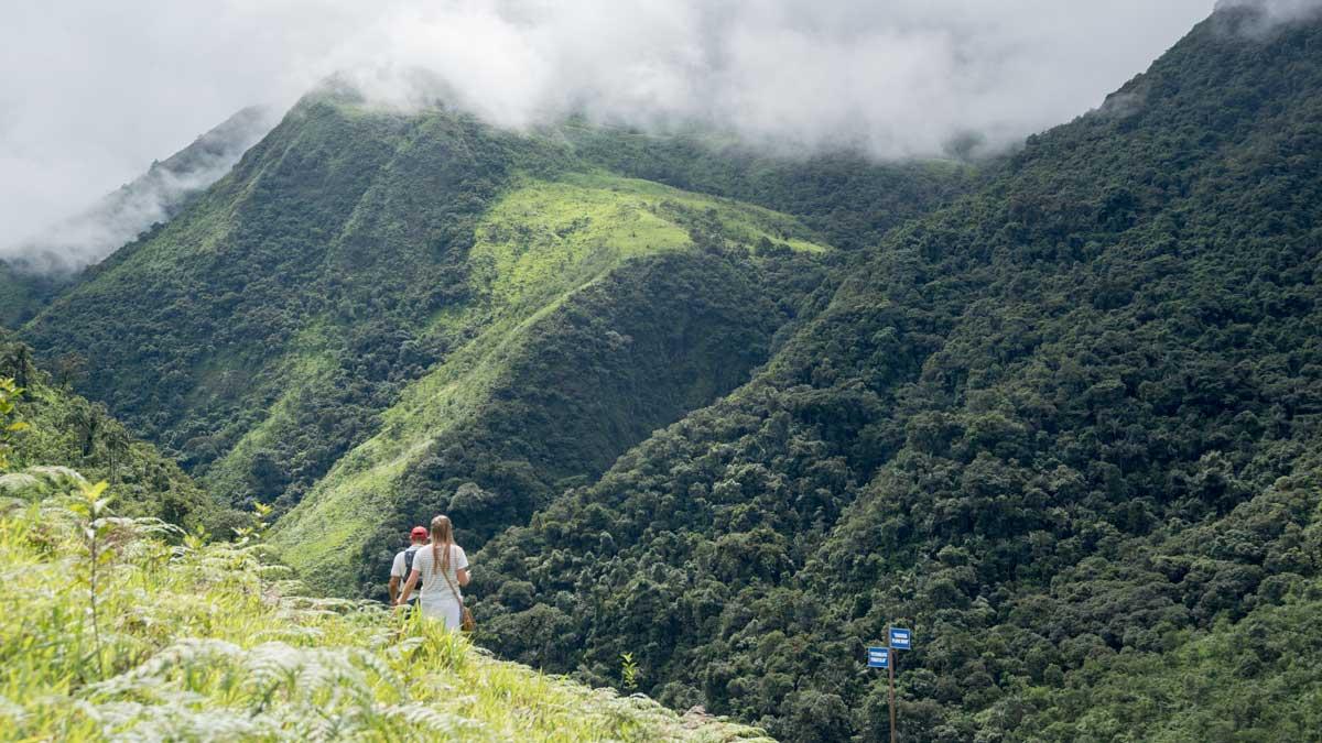 HIking dowhill to the petroglyphs, Cascada Plano Rumi, Ecuador   ©Angela Drake